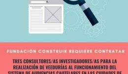 Consultor_a Investigador_a_ Veedurías Funcionamiento del sistema de audiencias cautelares en la ciudad de Cochabamba, La Paz y Santa Cruz