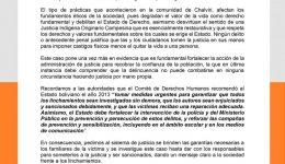 PRONUNCIAMIENTO DE CONDENA A LINCHAMIENTO